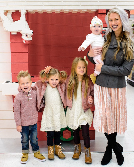 Janene Crossley and her four children wearing Target holiday outfits