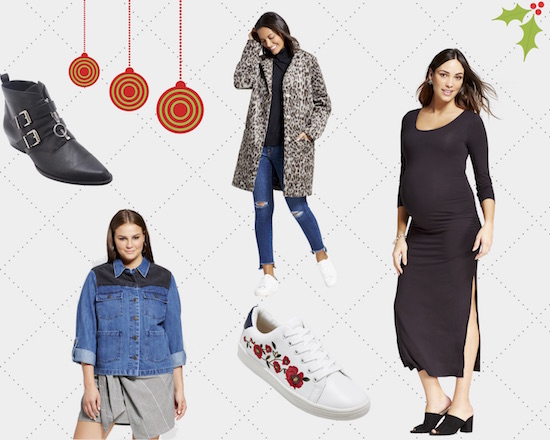 Project collage graphic with black booties, denim jacket, leopard coat, white embroidered sneakers and black midi dress