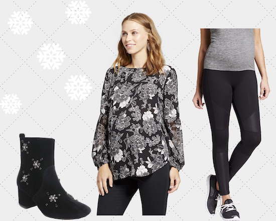 Product collage graphic featuring black jeweled booties, a black and white blouse and black leggings