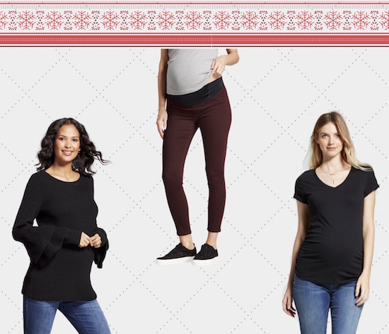 Product collage graphic featuring a black sweater, red jeans and a black t-shirt