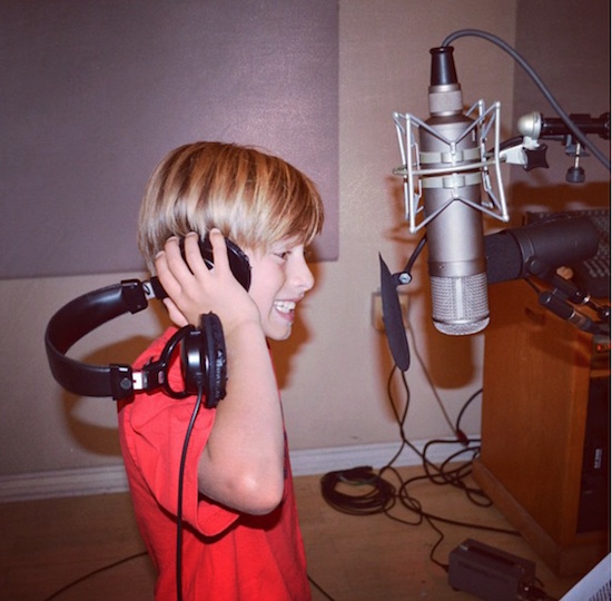Johnny Orlando in a recording studio