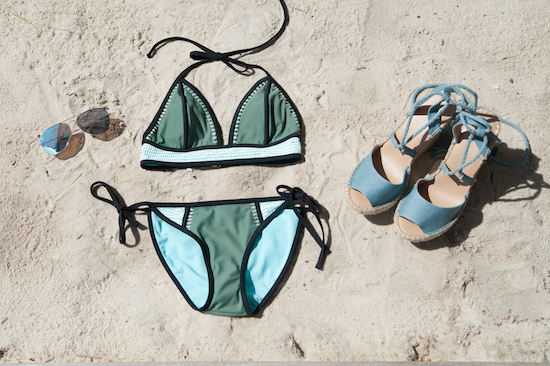 Bue triangle bikini with matching blue wedges and aviator sunglasses