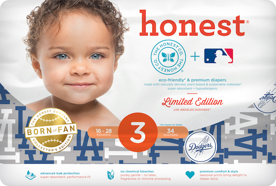 Image of the Honest Company MLB diapers in LA Dodgers print