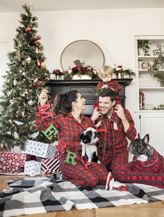 Olivia Jeanette and her family wearing the Holiday Plaid Family Pajama collection