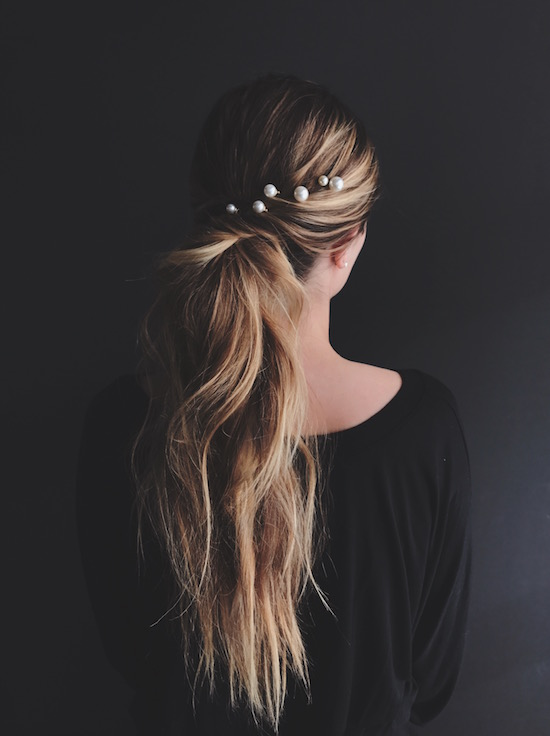 Swept back pony tail with pearl pin accents
