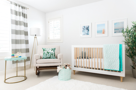Baby nursery decorated with Cloud Island and Pillowfort decor