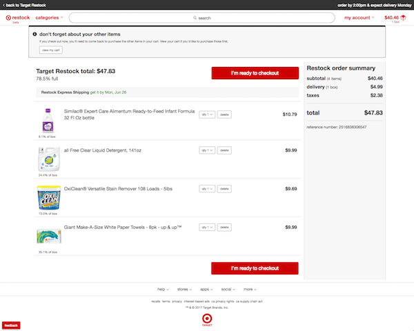 Target Restock check out page