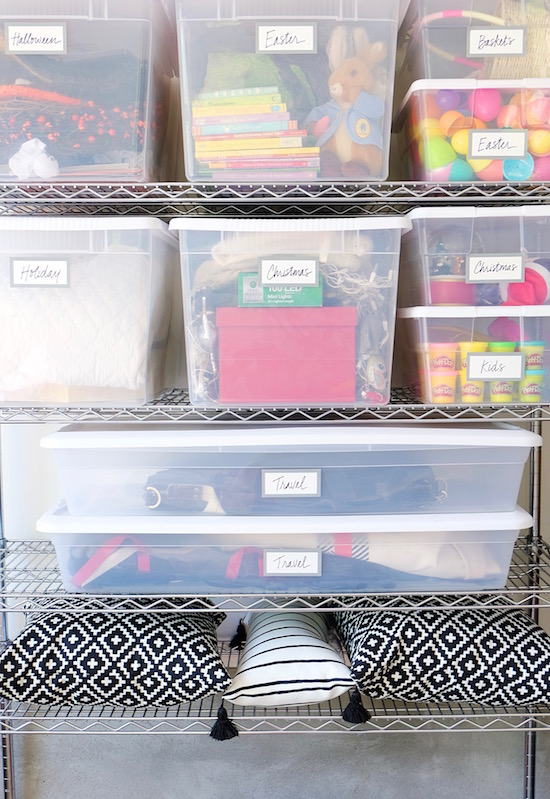 Neatly labeled and organized storage bins