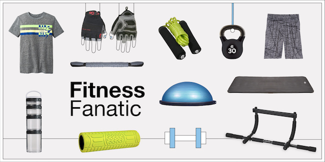 Fitness fanatic product collage