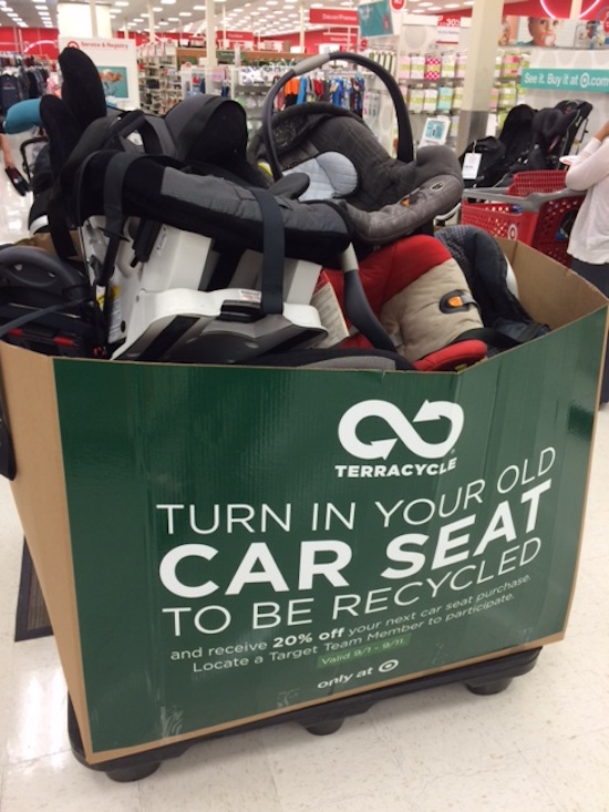 Bin Of Collected Car Seats At A Target Store