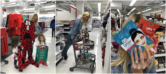 Photo collage of three images of Zanna and her daughters shopping in Target