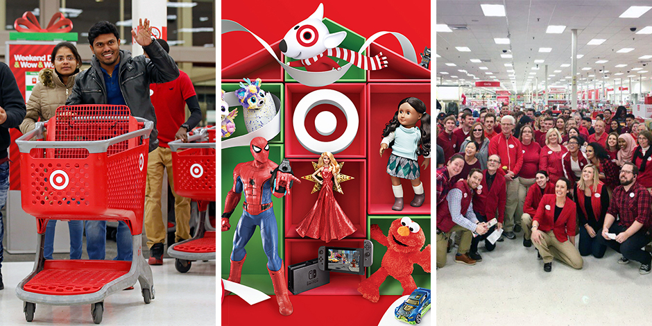 Guests shopping, holiday toy favorites, and team members on the sales floor