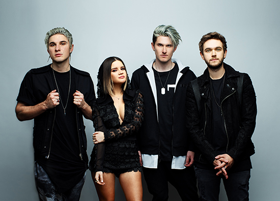 Zedd, Maren and Grey standing against a grey background