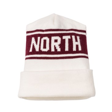 white and red North beanie