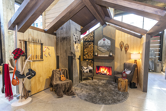 The fireside lounge area inside the Bullseye Lodge
