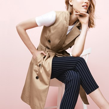 Women wearing sleeveless trench vest from A New Day