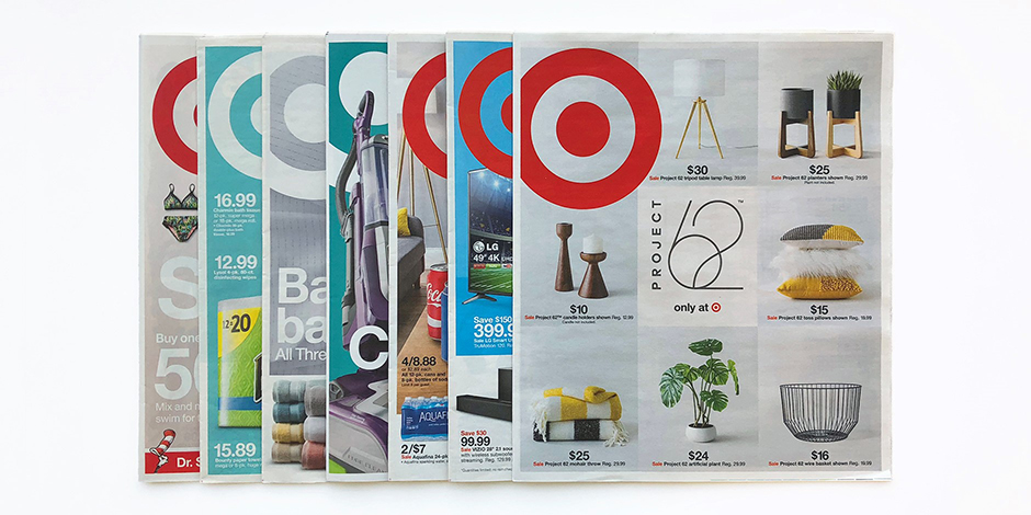 Seven copies of Target's Weekly Ad from past weeks
