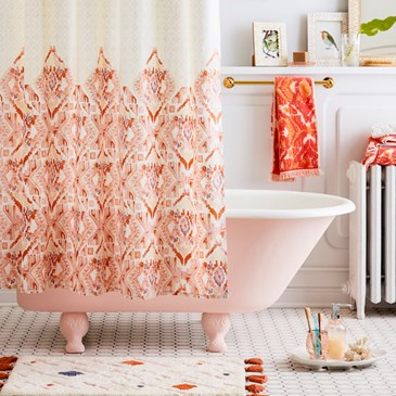 Pink and orange shower accessories