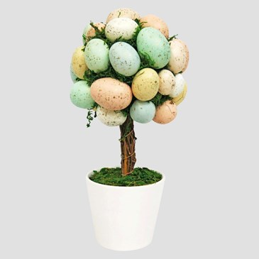 Artificial Easter Egg Tree in Ceramic Pot Red/Yellow/Blue 13.5""