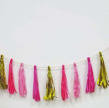 Tinsel Garland Pink/Gold 60""