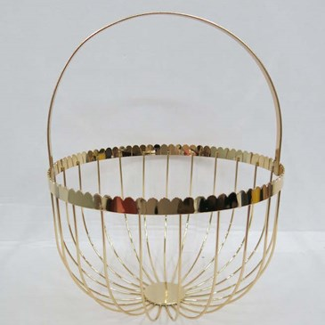 product description page Metal Decorative Basket Light Gold Finish 12.5""