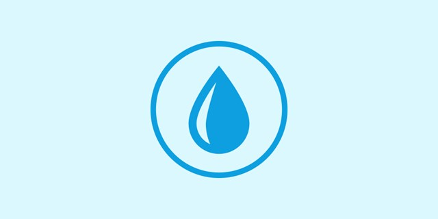 A blue raindrop icon on a white background