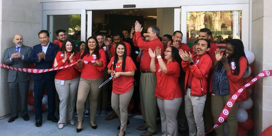 The Koreatown store team cuts the ribbon at their grand opening event