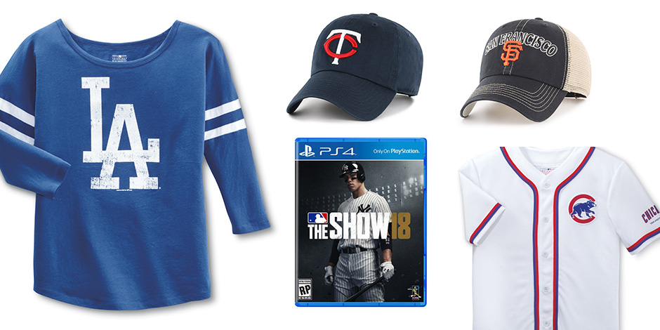 Assorted apparel, hats and the MLB The Show 18 video game