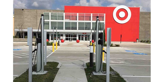 Two charging stations outside a Target store