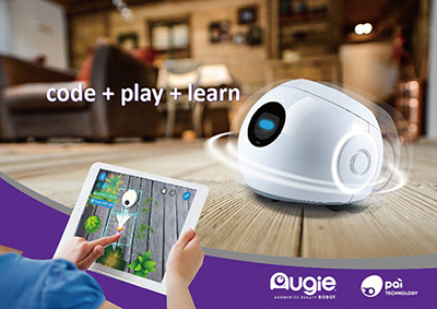 The Augie by Pai robot and iPad showing how they connect