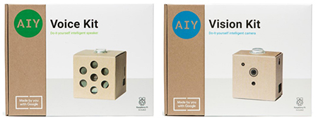 The Google AIY Voice and Vision kit boxes