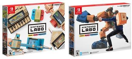 The Nintendo Labo Variety and Robot kit boxes