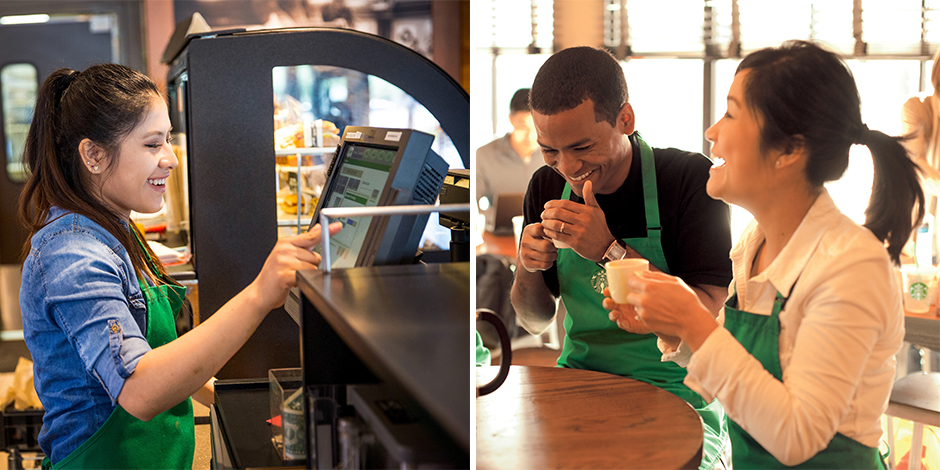 A Starbucks partner enters an order, and two other partners sit at a table tasting coffee