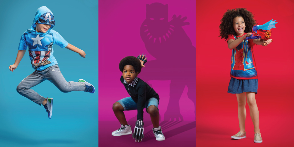 Three colorful images of kids in Avengers gear