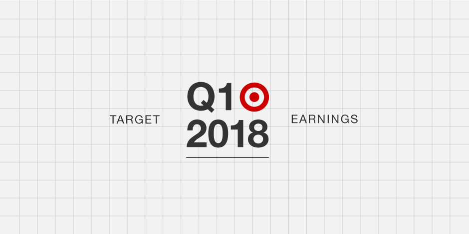 Target Q1 2018 Earnings with red bullseye logo on a white grid background