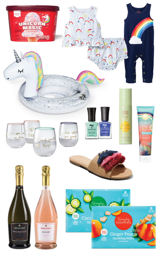 Unicorn icecream, outfits, pool float, plus nail polish, wine and glasses, sparkling water, beauty products and shoes