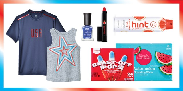 An assortment of red, white and blue product from t-shirts and tanks to nail polish and snacks