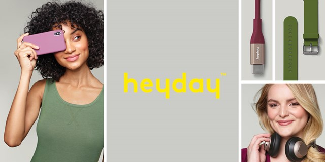 "Yellow ""heyday"" logo surrounded by photos of  models using the tech as well as product examples."