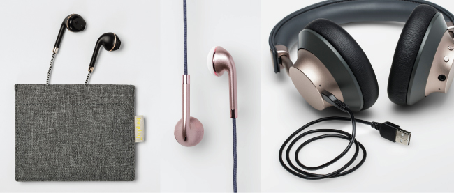 Black earbuds with case, rose-hued earbuds and gold-accented headphones
