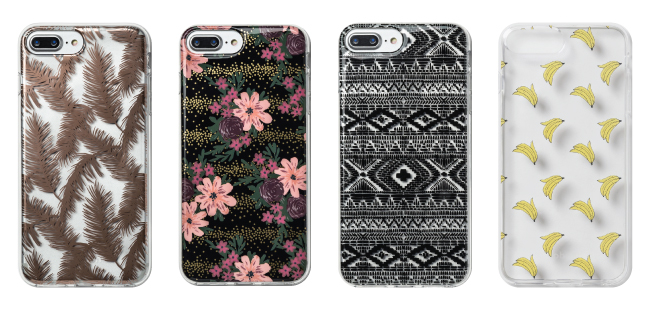 Four cell phone cases in feathers, floral, monochromatic and banana prints