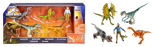 Dr. Grant and a variety of dinosaur figures shown in and out of their packaging