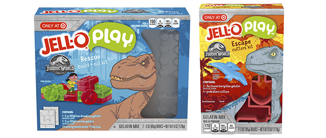 Two boxes of only-at-Target Jello play sets featuring dinosaurs on the covers.