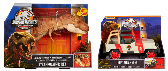 "T.rex and jeep in ""Jurassic World Legacy Collection"" packaging"