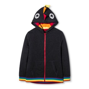 Black hoodie with dinosaur eyes and scales on the hood and rainbow piping