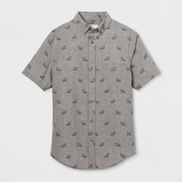 Gray short-sleeve shirt with collar and rainbow flags print