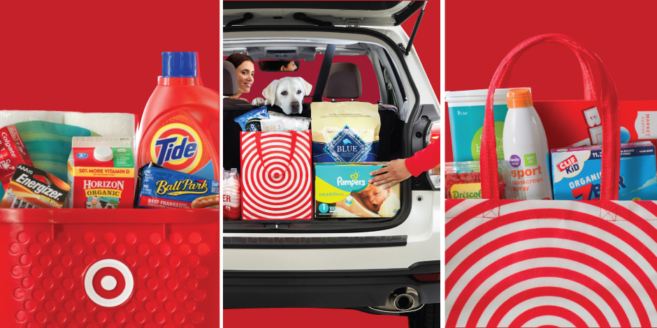 A split screen shows a red Target basket, car trunk and reusable bag brimming with products