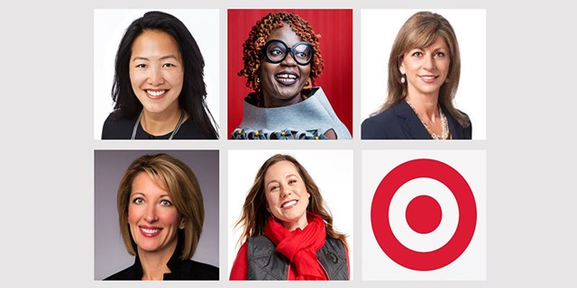 Headshots of five Target leaders against a gray background alongside Target's bullseye logo