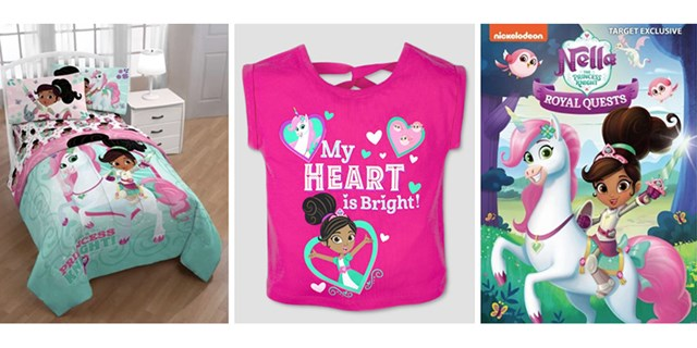 A bedding set, t-shirt and DVD cover featuring Nella and friends