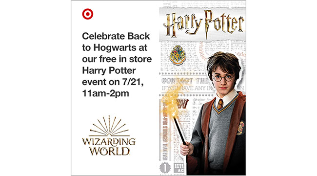 "An ""invite"" to the event shows an image of Harry Potter, reading ""Celebrate Back to Hogwarts at our free in store Harry Potter event on 7/21, 11 a.m.-2 p.m."