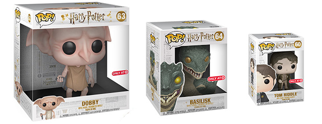 Dobby, Bailisk and Tom Riddle Funko figures are shown in their packaging